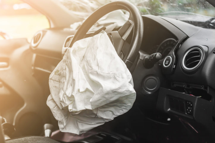 Airbag exploded at a car accident,Car Crash air bag,Airbag work with illuminated